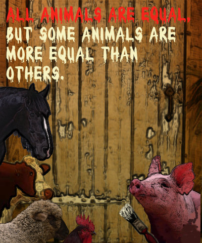 Constructed cartoon image of the animals in Animal farm putting the iconic line '...more equal than others...' on a barn door.