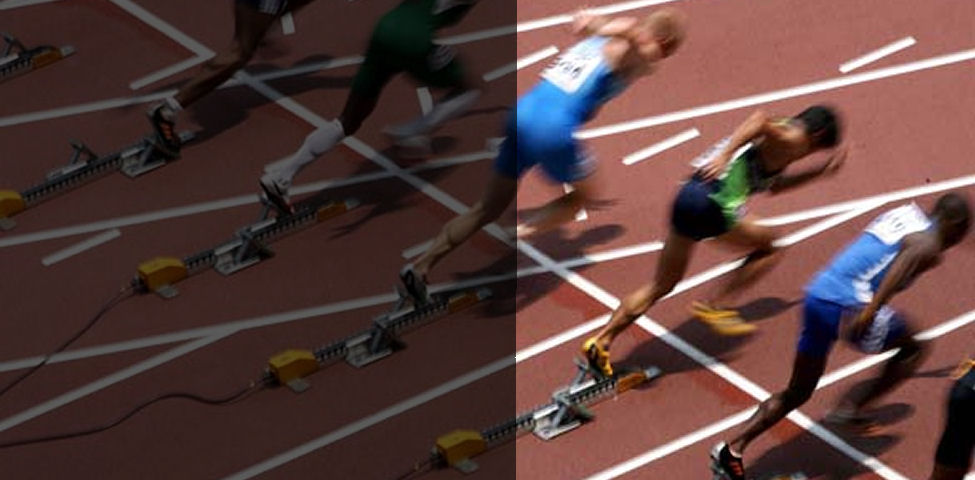 Image of sprinters at the start of a 100meters track.
