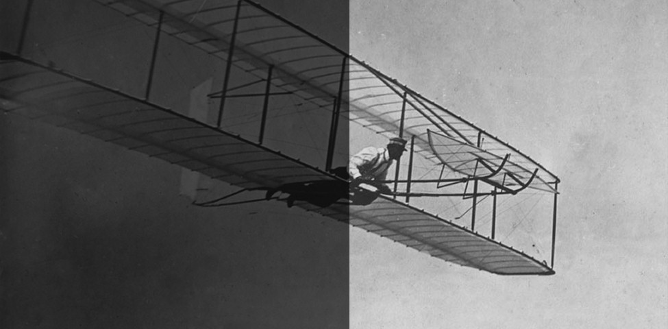 Image of first man powered aeroplane with one of the Wright brothers.