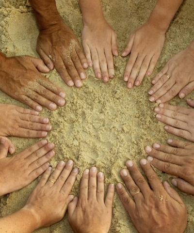 Pairs of hands, little fingers touching, forming a circle.